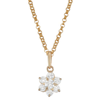 Girls White Cubic Zirconia 10K Gold Flower Pendant Necklace