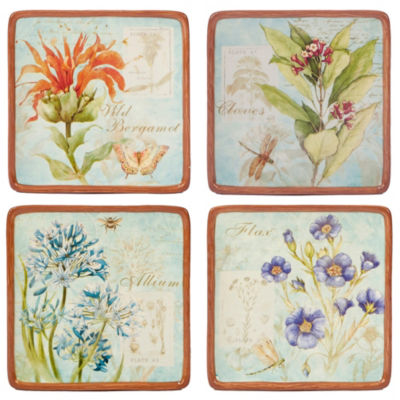 Certified International Herb Blossoms 4-pc. Appetizer Plate