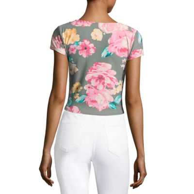 Derek Heart Short Sleeve Cap Sleeve Crop Top-Juniors