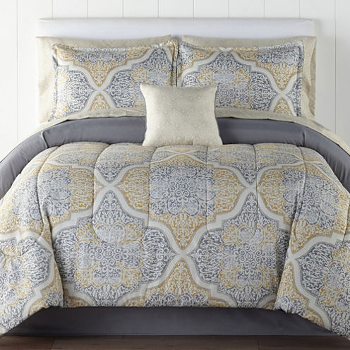 Home Expressions Bingham Medallion 6-pc. Twin Complete Bedding Set