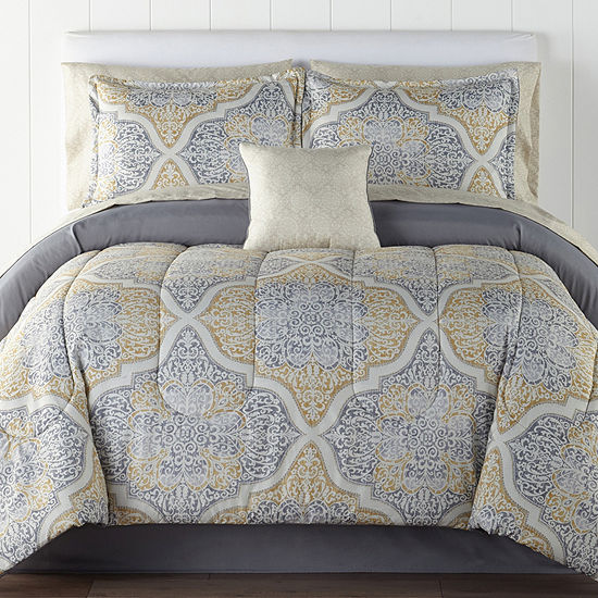Home Expressions Bingham Medallion Complete Bedding Set with Sheets