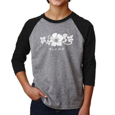 Los Angeles Pop Art Boy's Raglan Baseball Word Art T-shirt - ALOHA