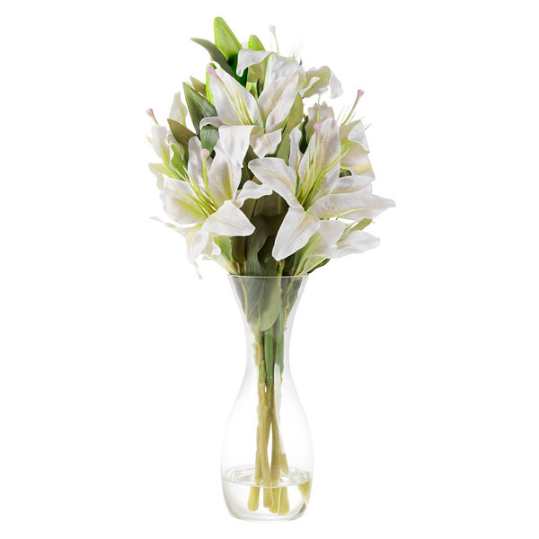 Pure Garden Tall Lily Artificial Floral Arrangement