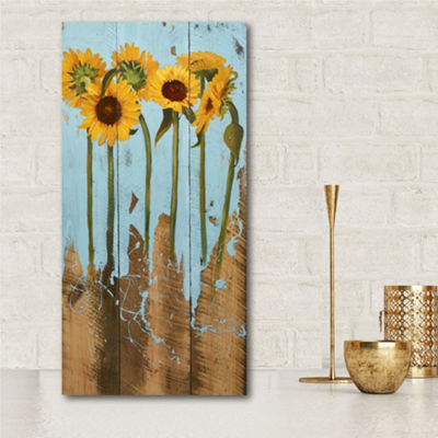 Sunflowers On Wood II Canvas Art