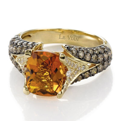 Grand Sample Sale™ by Le Vian® Cinnamon Citrine® and Chocolate & Vanilla Diamonds™ Ring in 14k Honey Gold™