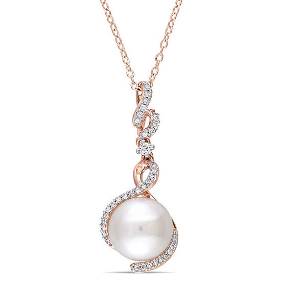 Womens 1/6 CT. T.W. White Cultured Freshwater Pearl 18K Rose Gold Over Silver Pendant Necklace