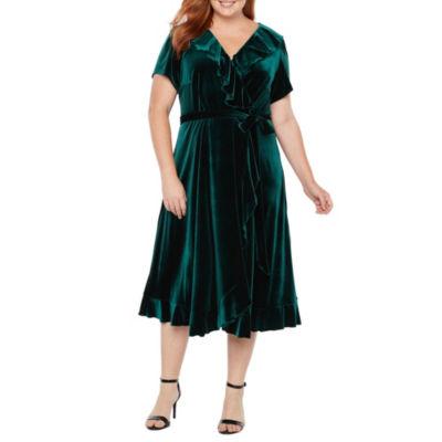 Danny & Nicole Short Sleeve Wrap Dress - Plus