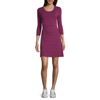 Arizona Long Sleeve Stripe Fit & Flare Dress-Juniors