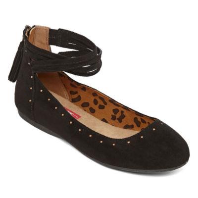 Pop Womens Lavina Ballet Flats Zip Closed Toe