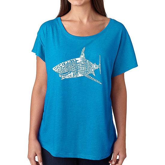 Los Angeles Pop Art Women s Loose Fit Dolman Cut Word Art Shirt - SPECIES  OF SHARK 29926feee