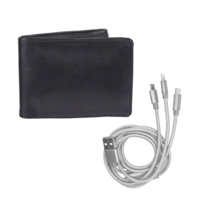 Exact Fit Mens RFID Stretch Bifold Wallet with 3-in-1 USB Charging Cord