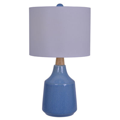 Decor Therapy Casey Speckled Ceramic and Wood Table Lamp