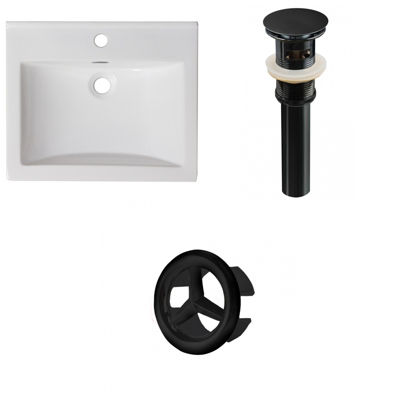 21-in. W 1 Hole Ceramic Top Set In White Color - Overflow Drain Incl.