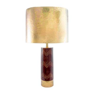 "Watch Hill 26"" Aria Chevron Wood & Iron Aluminium Shade Table Lamp"