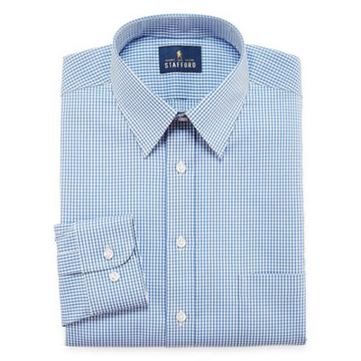 Stafford Comfort Stretch Long Sleeve Woven Gingham Dress Shirt