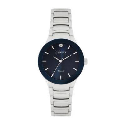 Geneva Mens Silver Tone Bracelet Watch-Jry8087slnv