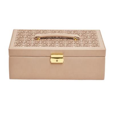 Mele & Co. Naomi Locking Fashion Jewelry Box with Geometric Laser Cut Accent