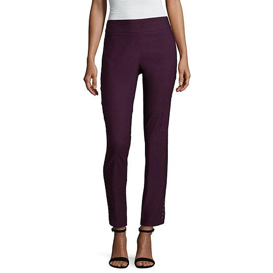 Worthington Womens Mid Rise Slim Pull On Pants Petite