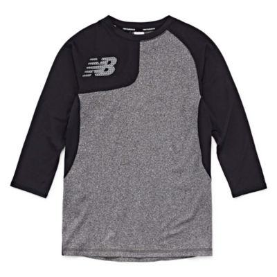 New Balance Long Sleeve Round Neck T-Shirt-Big Kid Boys