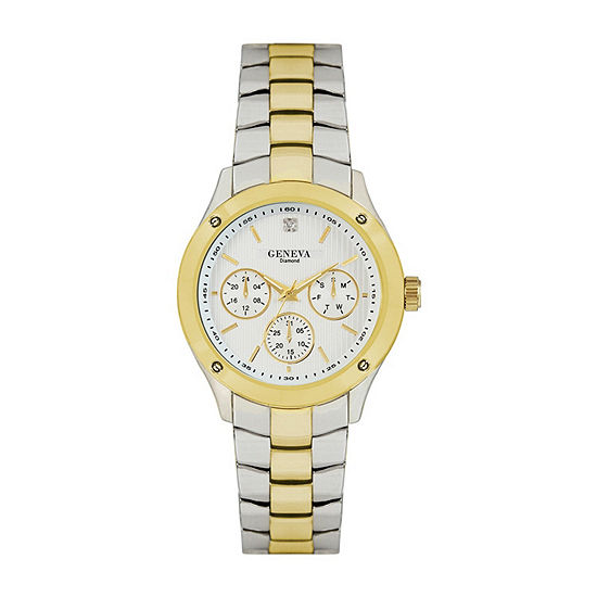 Geneva Mens Diamond Accent Two Tone Bracelet Watch-Jry8088ttg