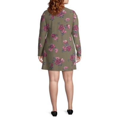 Arizona Long Sleeve Floral Fit & Flare Dress-Juniors