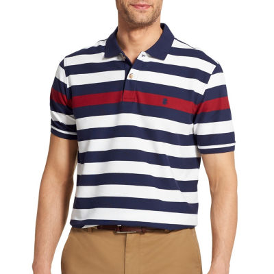 IZOD Easy Care Short Sleeve Stripe Knit Polo Shirt