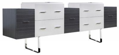 88.5-in. W 18-in. D Modern Plywood-Veneer Vanity Base Set Only In White-Dawn Grey
