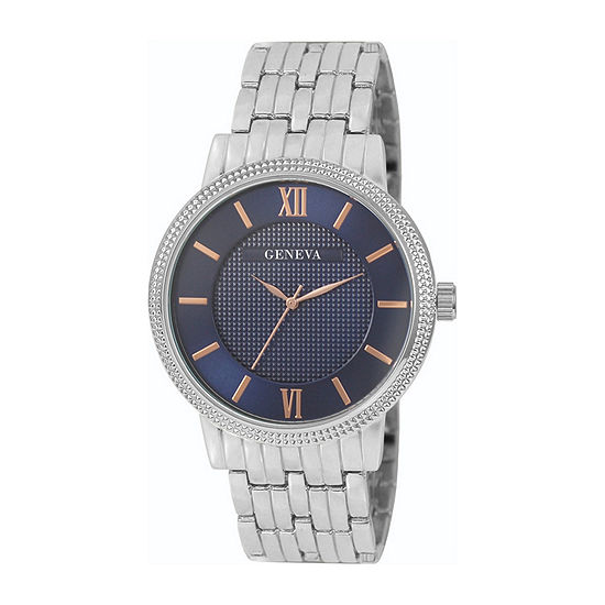 Geneva Mens Silver Tone Bracelet Watch-Jry8125sl