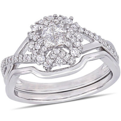 Womens 1/2 CT. T.W. Genuine White Diamond Sterling Silver Bridal Set