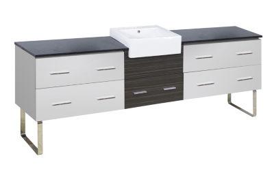 92.75-in. W 18-in. D Modern Plywood-Melamine Vanity Base Set Only In White-Dawn Grey
