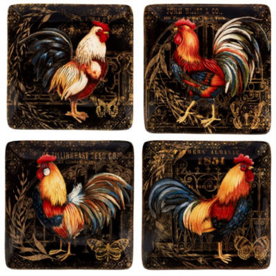 Certified International Gilded Rooster 4-pc. Appetizer Plate
