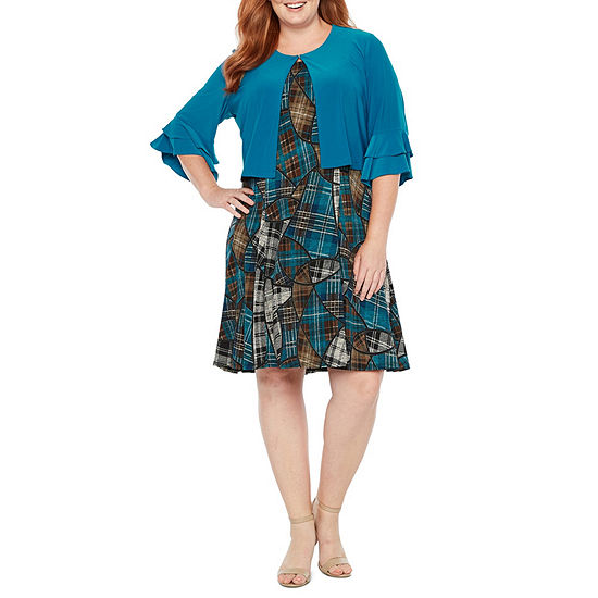 Perceptions 3/4 Flutter Sleeve Jacket Dress - Plus
