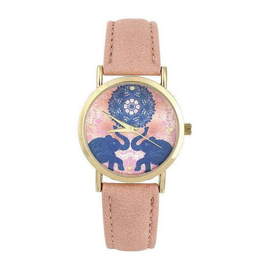 Decree Elephant Dial Womens Pink Strap Watch-Pt3216fgdcr