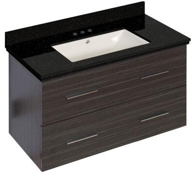 36-in. W Wall Mount Dawn Grey Vanity Set For 3H4-in. Drilling Black Galaxy Top Biscuit UM Sink