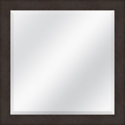 Brown Grain Beveled Plate Square Mirror