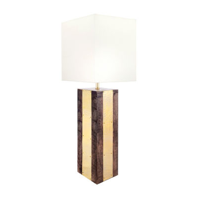 "Watch Hill 25"" Jasmine Wood Brass Cotton Shade Table Lamp"