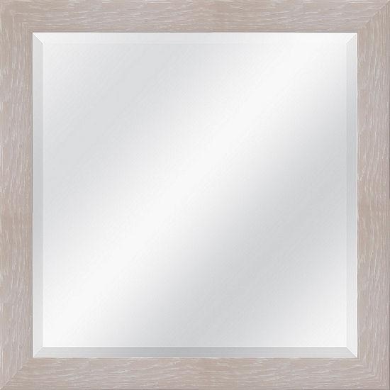 White Grain Beveled Plate Square Mirror