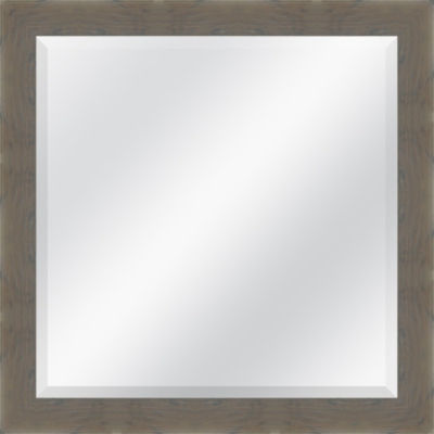 Grey Brown Grain Beveled Plate Square Mirror
