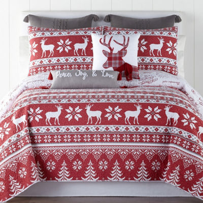 North Pole Trading Company Holiday 100% Cotton 3-pc. Quilt
