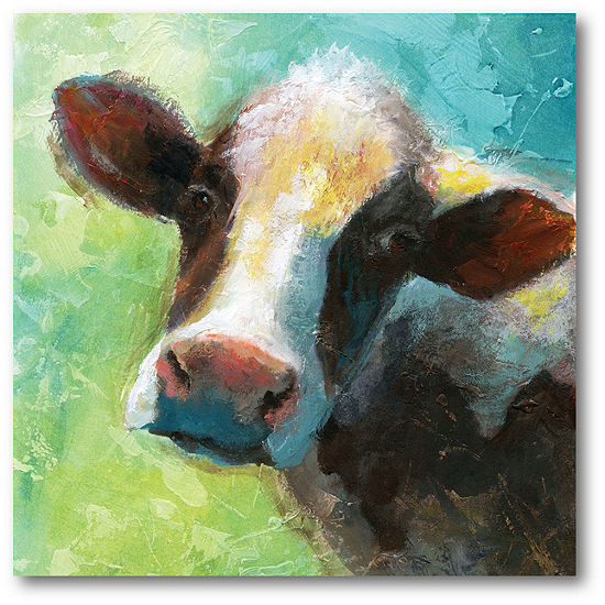 Courtside Market Colorful Quirky Cow Canvas Art