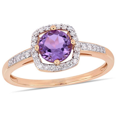 Womens 1/7 CT. T.W. Genuine Purple Amethyst 10K Rose Gold Cocktail Ring