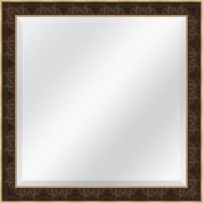Brown and Gold Beveled Plate Square Mirror