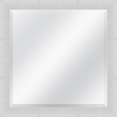 Brushed Silver Beveled Plate Square Mirror