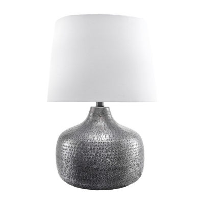"""Watch Hill 21"""" Faith Hammered Aluminum Cotton Shade Table Lamp"""