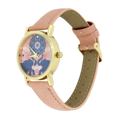 Decree Elephant Dial Womens Pink Strap Watch-Pt3216fgdcr