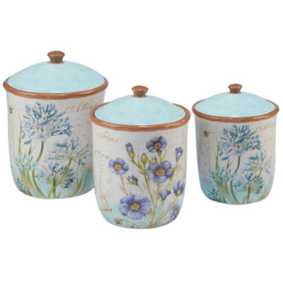 Certified International Herb Blossoms 3-pc. Canister