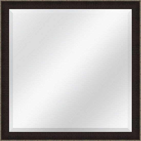 Textured Brown And Silver Beveled Plate Square Mirror