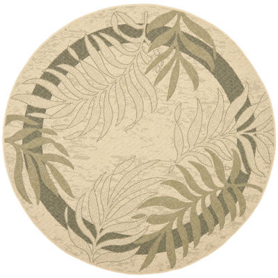 Safavieh Courtyard Collection Wilmer Floral Indoor/Outdoor Round Area Rug