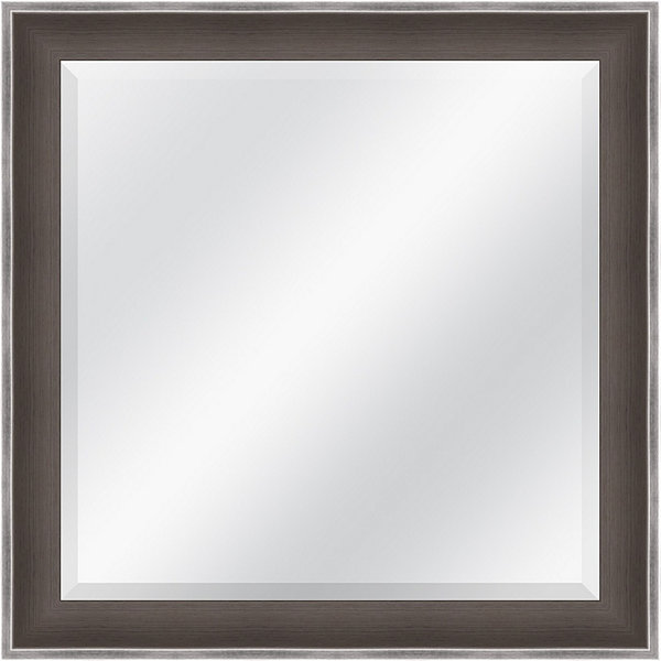 Grey and Silver Beveled Plate Square Mirror