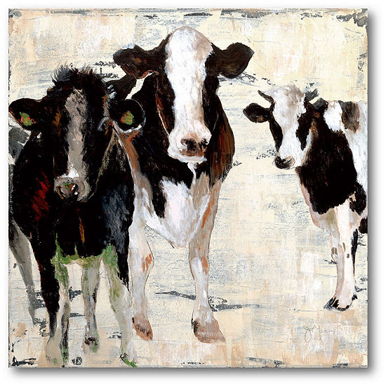 Courtside Market Black & White Cow Canvas Art